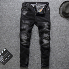 Fashion Classical Men Jeans Black Color White Wash Elastic Ripped Jeans Spliced Designer Skinny Fit Streetwear Hip Hop Jeans Men цена 2017