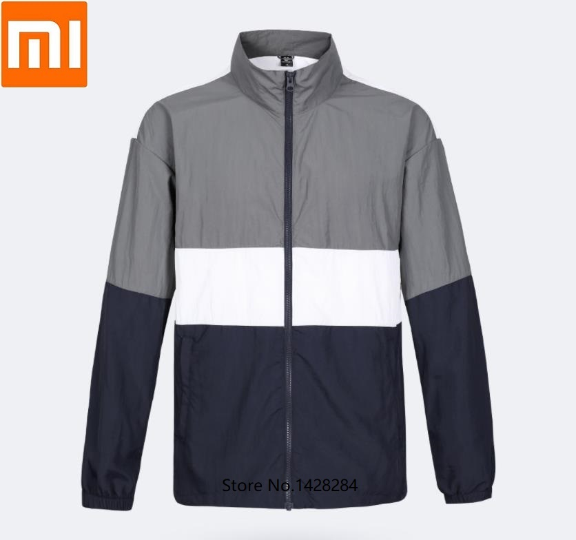 Xiaomi Uleemark men s trend colorblock sports jacket Anti splash wear Reflective printing Breathable outdoor Sweatshirt