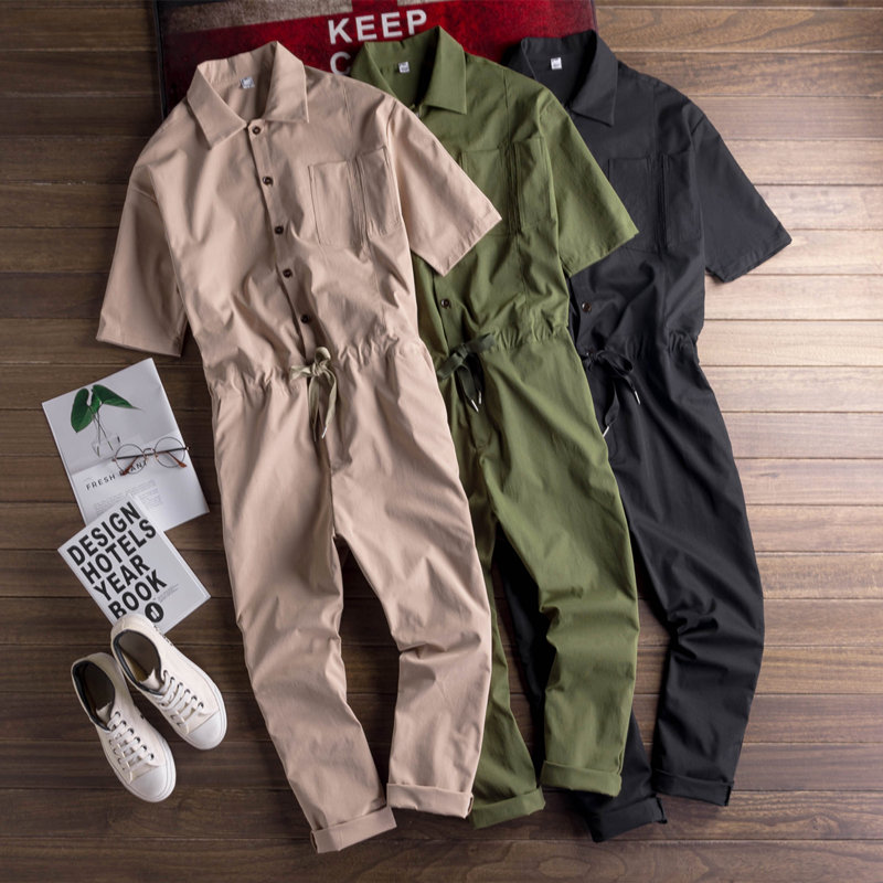 Japanese Men Casual Short Sleeve Jumpsuit Full Length Male Thin Loose Jumpsuit Mens Workwear Suit Coveralls Suspender Pants
