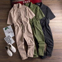 Japanese Men Casual Short Sleeve Jumpsuit Full Length Male Thin Loose Jumpsuit Mens Workwear Suit Coveralls Suspender Pants
