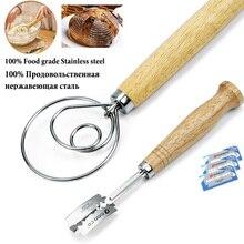 2 упаковки 13,5 дюймов датский венчик для теста из нержавеющей стали и хлеба хромой с 5 лезвиями в комплекте-лучший инструмент для подсчета очков