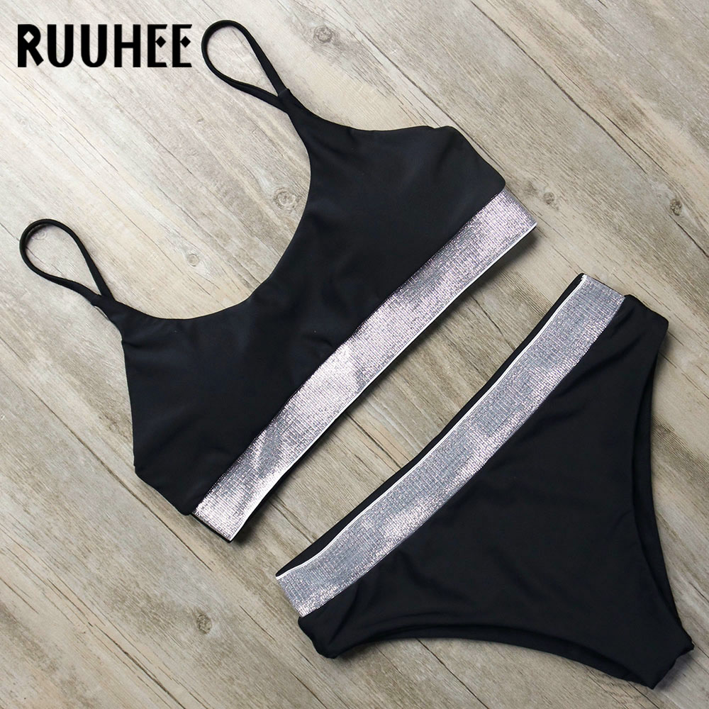RUUHEE Solid Bikini Swimsuit Swimwear Women Sexy Bikinis Set Bathing Suit Push Up 2018 Female Beachwear With Pad Swimming Suit ruuhee 2017 swimwear women swimsuit sexy bikini low waist bathing suit bikini set metal color female thong beachwear with pad