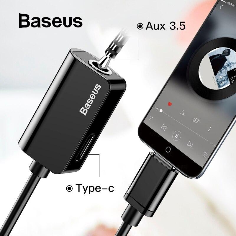 Baseus tipo-C adaptador de Cable de Audio de tipo C a 3,5mm jack de Audio del divisor del USB C adaptador de auriculares para xiaomi Huawei P20 pro amigo 20