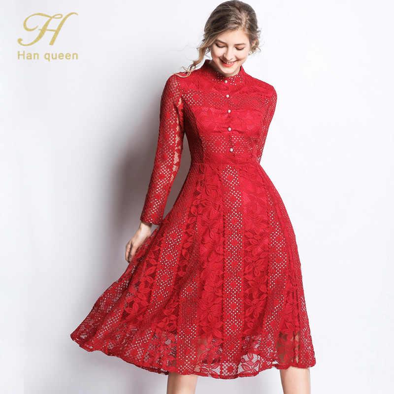 H Han Queen nouveauté 2019 printemps dentelle robe mode Vintage Floral évider luxe élégant Slim femmes soirée robes de soirée