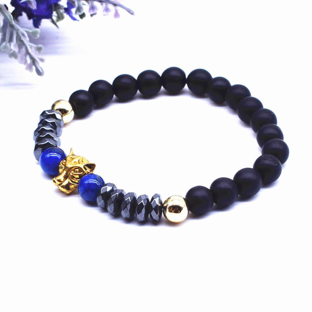 O Novo Estilo Animais Cabeça de Cão Pulseira para Homens Criança 8mm Azul Lapis Lazuli e Angular Grânulos de Hematita Pulseira jóias saudável