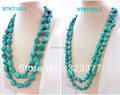 Beautiful 120-125cm Long Irregular Blue Turquoise Opera Necklaces In Different sizes