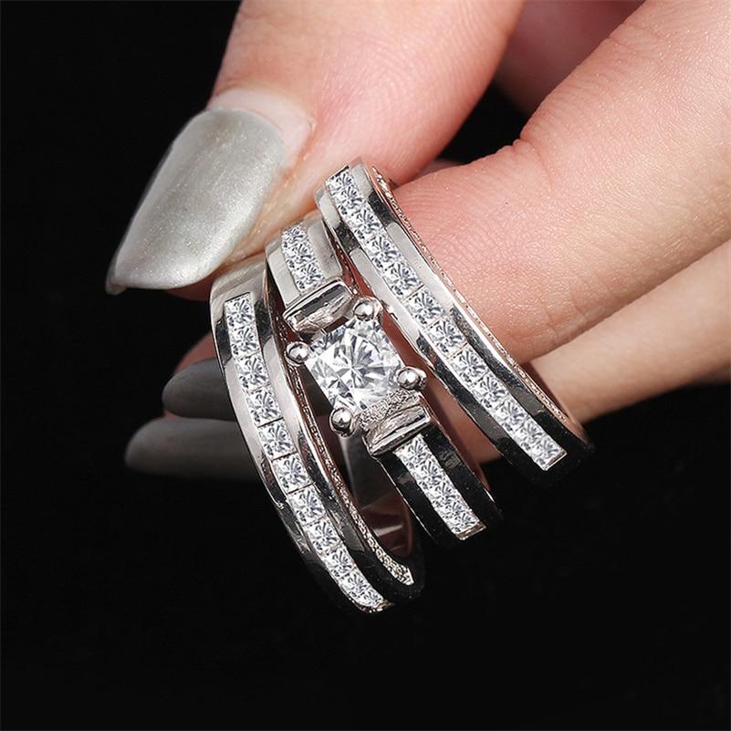 100% 18K White Gold Diamond Ring Set for Women Men Anillos Three piece Bizuteria Gemstone 18k Jewelry Wedding Rings