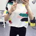 Nueva camiseta Del Verano de Las Mujeres de Impresión y Color Sólido del O-cuello cuello rosa camisetas mujer camisetas de algodón de las mujeres camisetas de moda clothing TS-5713