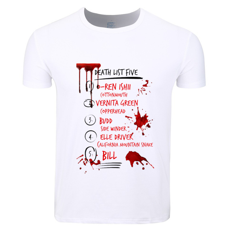 Mens Kill Bill Death List Five Funny Design Print T Shirt Homme Summer O Neck Tops Tee Man Kill Bill Movie Clothing,HCP1716