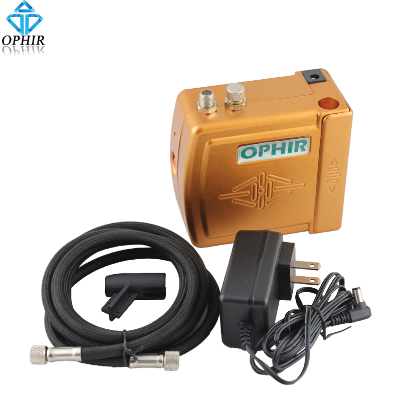 OPHIR Air Brush Compressor Min Air Compressor with Airbrush Hose Temporary Tattoo Makeup Nail Art Paint Cake Decorating #AC003H ophir temporary tattoo tool dual action airbrush kit with air tank compressor for model hobby cake paint nail art ac090 ac004