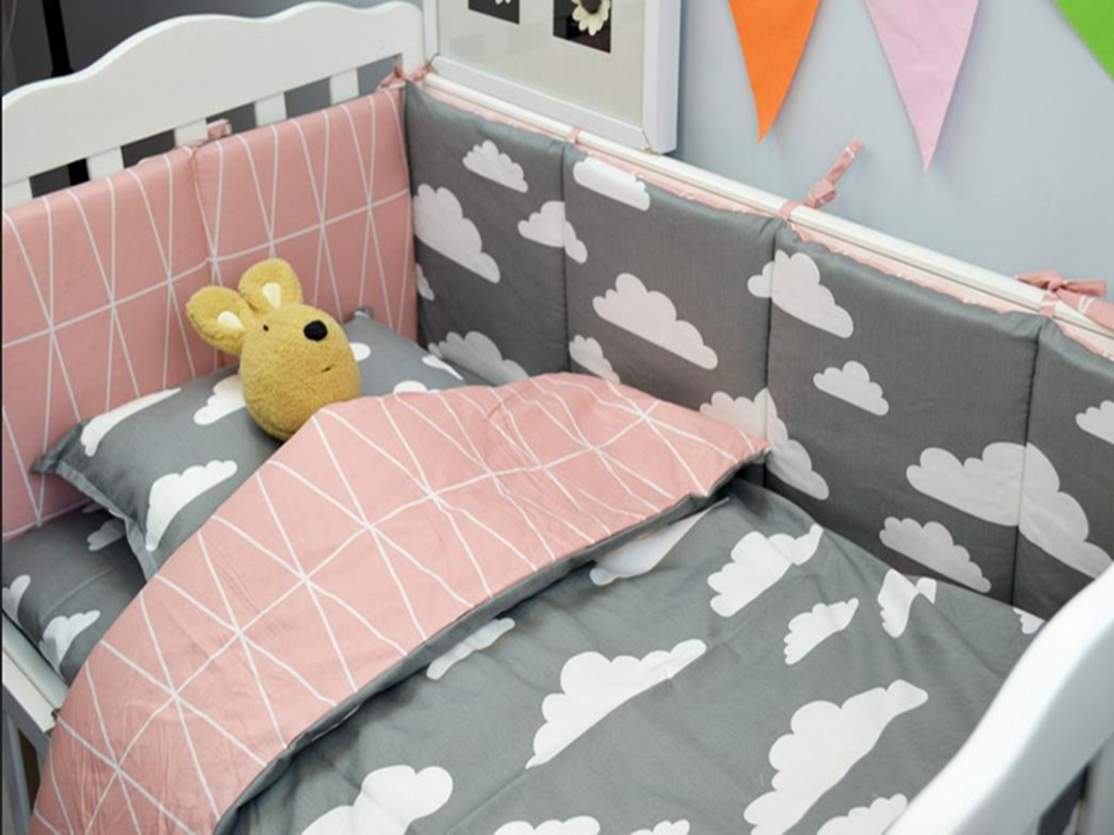 Free baby bed quilt patterns - 3pcs Sets Cotton Baby Bedding Set Cartoon Pattern Reactive Printing Cot Bedding Quilt Cover Baby