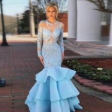 22860cb7a05f Sky Light Blue Mermaid Prom Abiti A Maniche Lunghe di Pizzo Organza Figura  Intera Abiti Da Sera Autunno Vestiti Dalle Donne Più .