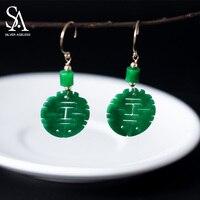 SILVER AGELESS 925 Sterling Silver 14K Gold Plated Drop Earrings Emerald Long Earrings Ethnic Chinese Words Hanging Earrings