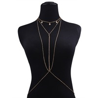 Sexy Chain Body Jewelry For Women Rhinestone Star Alloy Charm Pendant Body Chain Summer Party Accessories