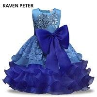صيف طويل فستان فتاة 3-7y كيد الصيف توتو حفل زفاف فتاة الأميرة اللباس زهرة كبيرة القوس الطبقات أكمام اللباس
