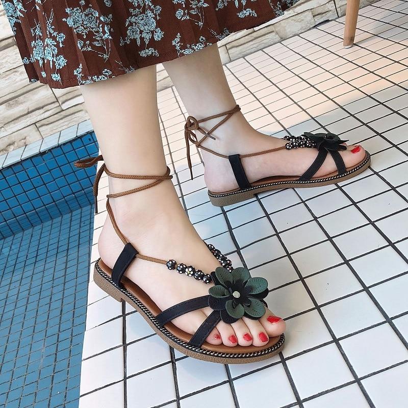 6e25140ac Summer Hot Sale Women Flip Flops Fashion Solid Color flower Flat Heel  Sandals Size 36-