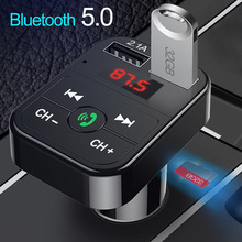 Car Bluetooth 5.0 FM Transmitter Wireless Handsfree Audio Receiver Auto MP3 Player 2.1A Dual USB Fast Charger Car Accessories