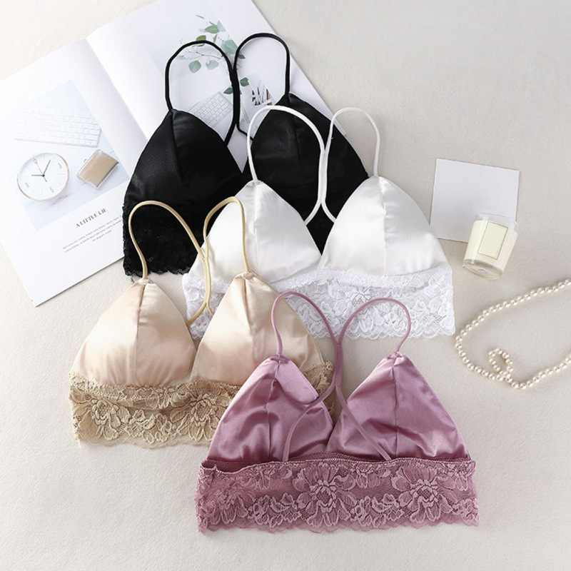 WEIXINBUY Sexy Crop Top Women Satin Silk Camis Bralette Beauty Back Lace Tube Top Strap Padded Bra