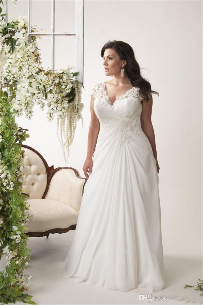 Grande taille Sexy col en V dentelle robes de mariée en mousseline de soie 2019 à lacets longueur de plancher arrière blanc plage mariée robes de mariée robes de mariée