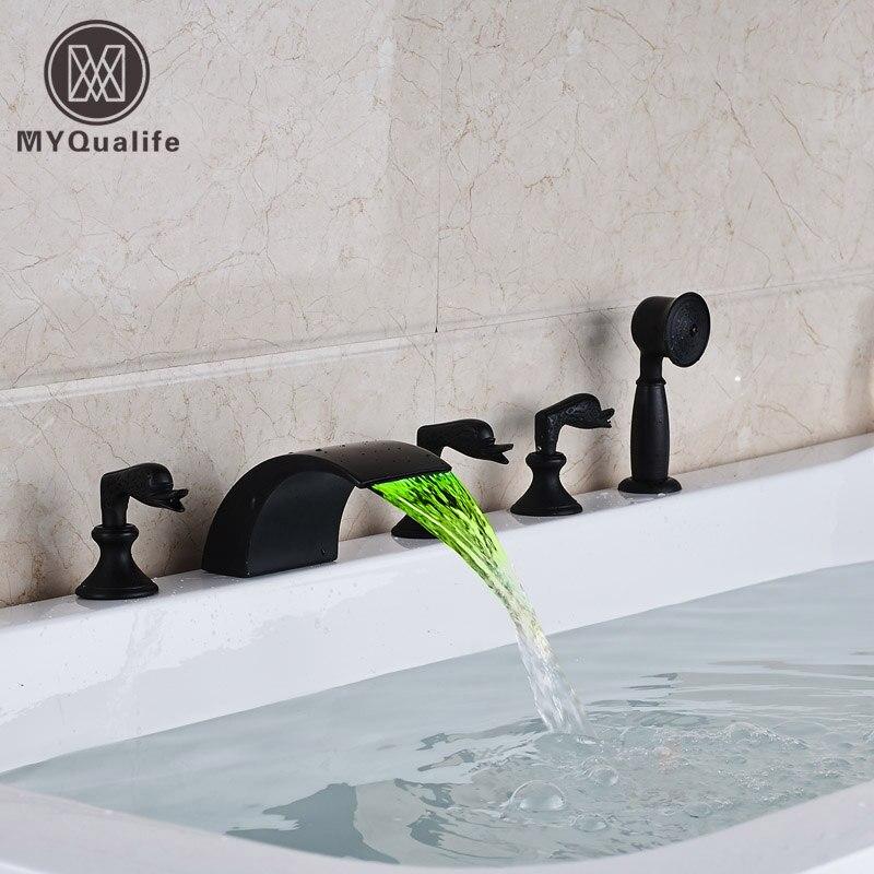Modern Waterfall Bath Tub Faucet Set 3 Swan Switch Bathroom Bath Mixer with Brass Handheld Shower