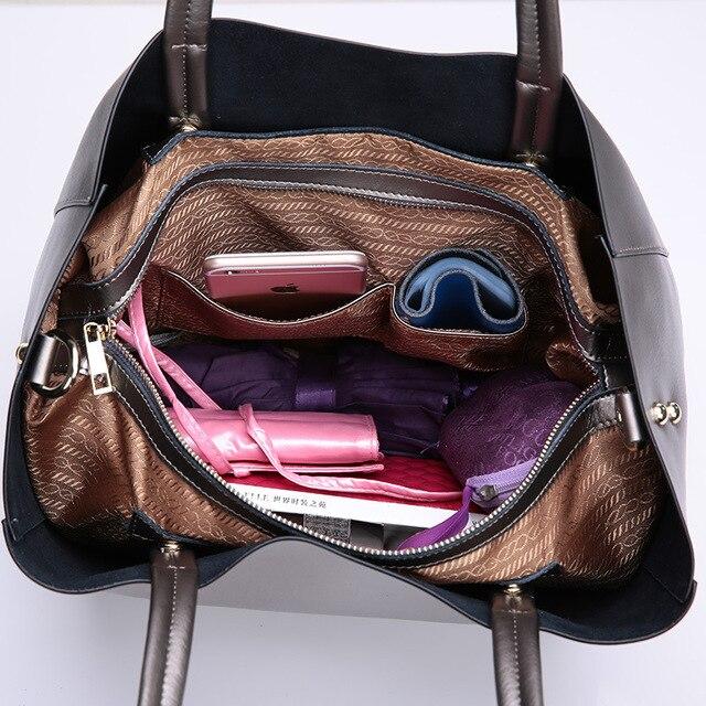 Fashion 2017 women real genuine leather women casual tote handbag large shoulder bags elegant ladies tote solid satchels YI078