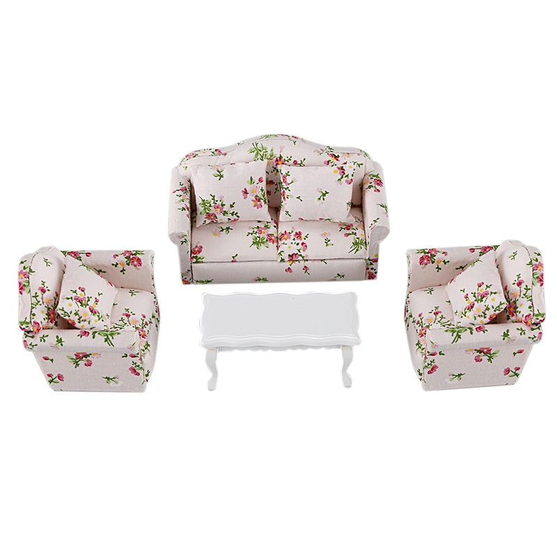4Pcs/1:12 Doll House Diy Hall Sofa Set Miniature Doll House Living Room Sofa Doll Decoration Toy Children's Toy Miniature Home