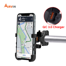 ARVIN Motorcycle Phone Holder With USB Charging Aluminum Alloy Moto Handlebar Rearview Mirror Charger Support Bracket For iPhone
