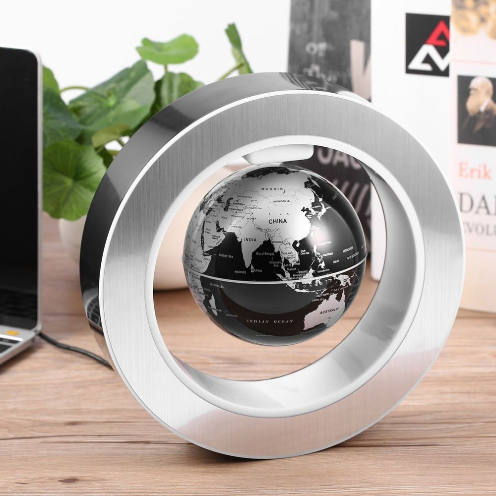Geography World Globe Magnetic Floating globe LED Levitating Rotating Tellurion World map school office supply Home decor new led world map world globe rotating swivel map of earth geography globe figurines ornaments birthday gift home office decor