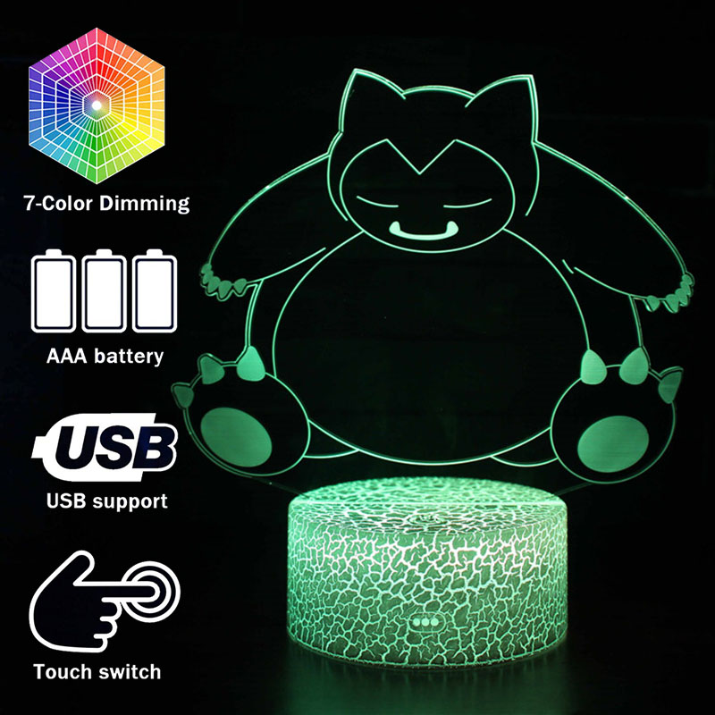3D illusion LED Snorlax Action Figure Night Light Pocket monster 7 Colors Changing Luminous Model Toys Lamp For kids Gifts(China)