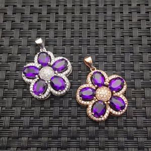 Image 2 - Natural Amethyst Necklace wholesale flower shape 925 silver making two color selection mail