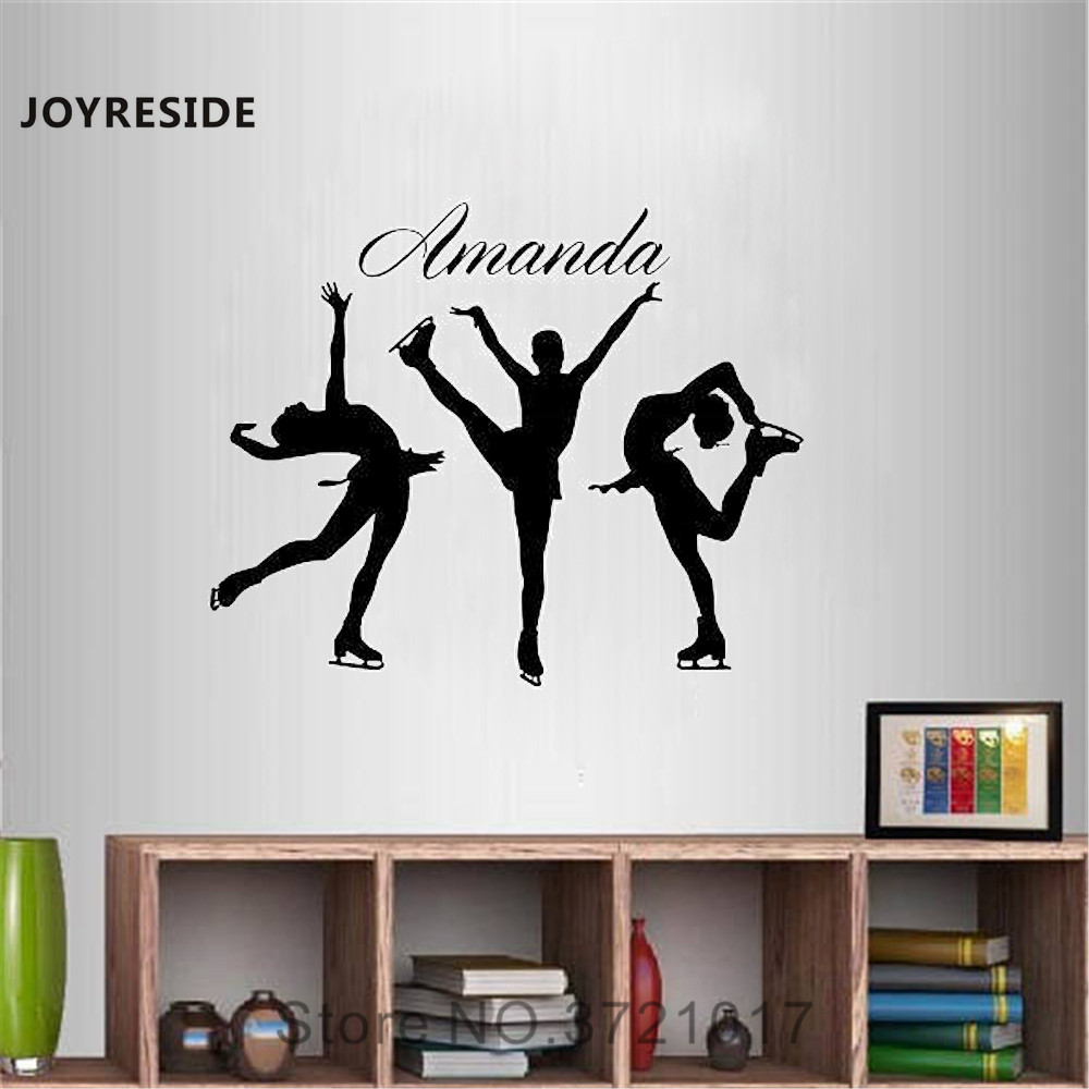 Joyreside figure skating girl wall personalized customized name decal vinyl sticker ice skating sport decor room decoration a074