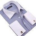 Бесплатная доставка мужская рубашка, новые мужские длинный рукав рубашки вскользь тонкий fit Французский рубашки запонки для мужчин большой размер XXXXL 2016