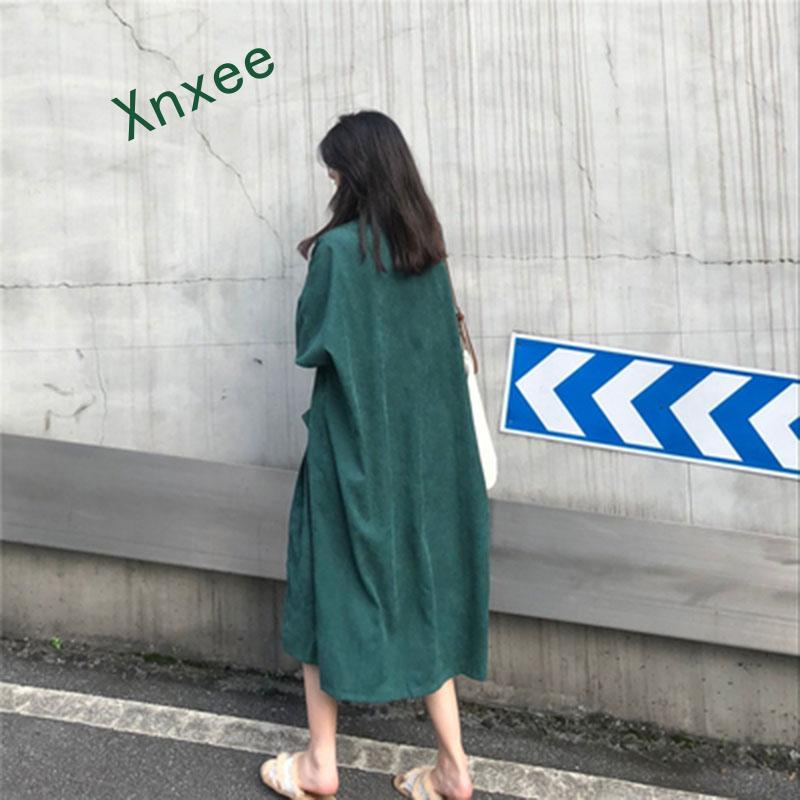 Xnxee Spring Trench Coat Plus Size Loose Fashion Long Corduroy Trench Coat For Women