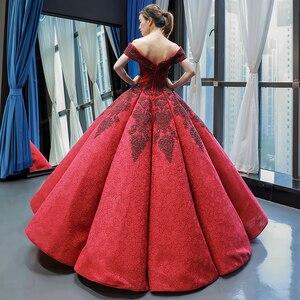 Image 3 - J66859 jancember inchado luxo vestido de noite 2019 querida vermelho frisado vestido de noiva vestidos vestido de noivado robe fiançaille