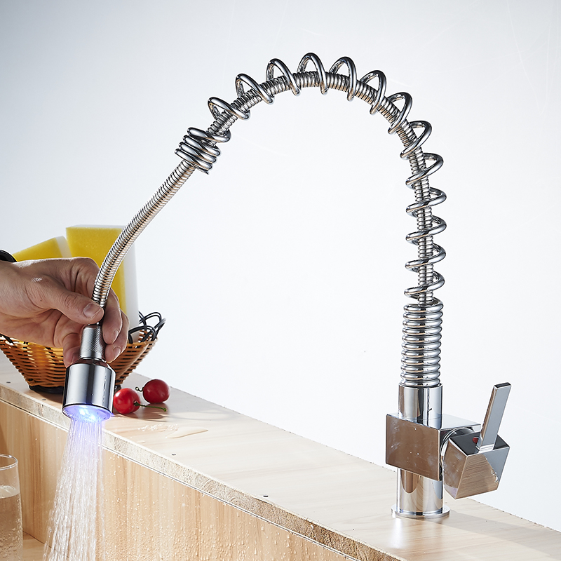 Spring Style Kitchen Sink Faucet Deck Mount Pull Out Torneira Dual Sprayer Nozzle Hot Cold Mixer 2-Function Water Taps YC-CL3009 newly arrived pull out kitchen faucet gold sink mixer tap 360 degree rotation torneira cozinha mixer taps kitchen tap