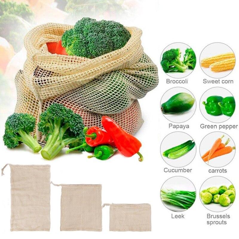 Bolsas de Malla ALGODÓN ecológica sostenible re-utilizable reutilizable varios 3 tamaños