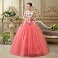 Último Diseño de Color Rosa Vestido de Quinceañera Vestidos de Bola 2016 V Neck Top de Encaje Con Cuentas Dulce 16 Vestido de Organza Vestido De Debutante