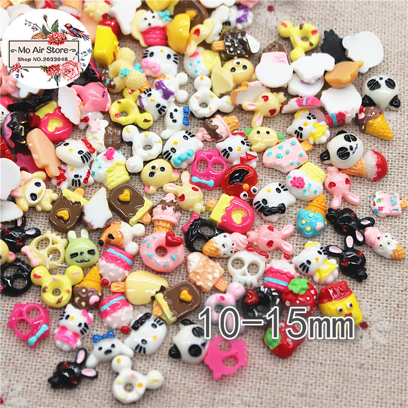 50PCS mix small design Resin Flat back Cabochon imitation food cartoon Art Supply Decoration Charm Craft in Figurines Miniatures from Home Garden