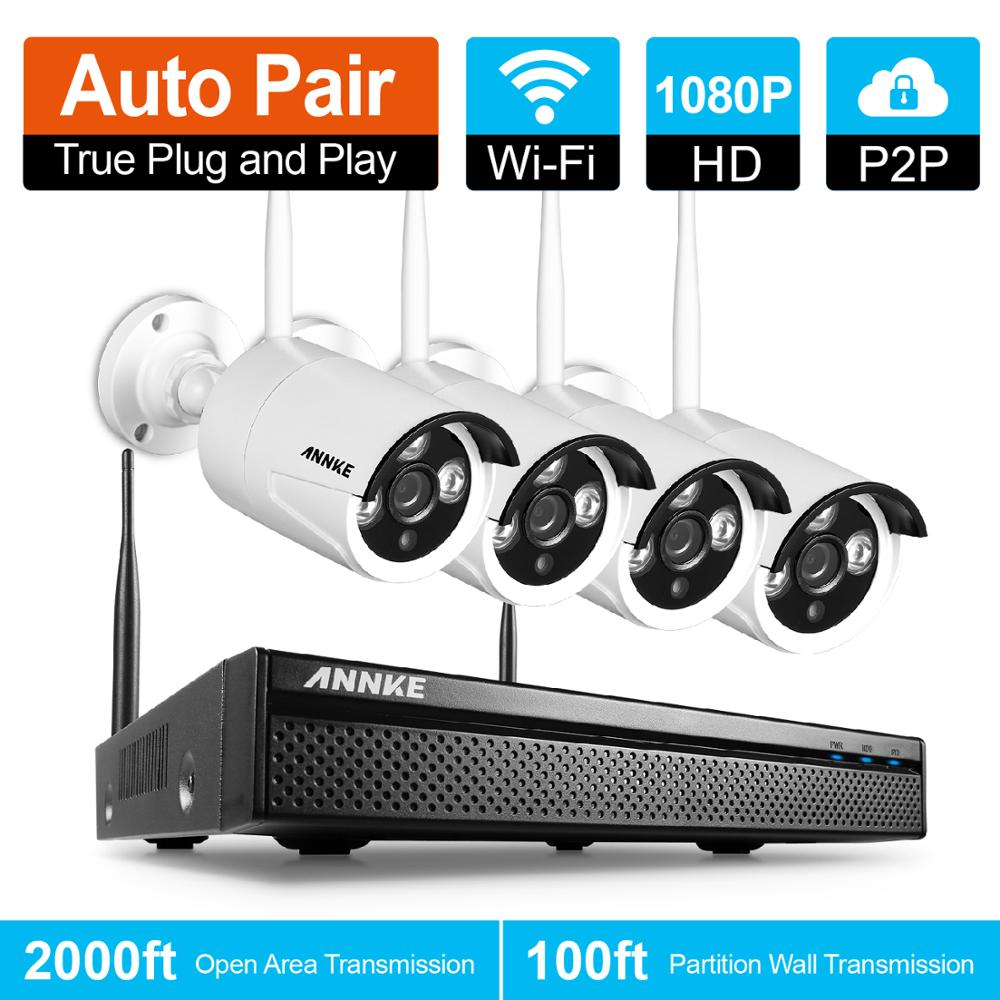 ANNKE EU Clearance Wireless 4CH 1080P Wifi Surveillance CCTV Camera System 4pcs 2MP IP Camera Outdoor Weatherproof Security Kit