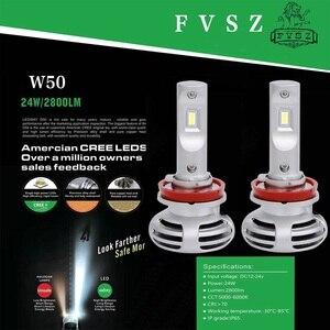Image 5 - 2Pcs W50 H11 LED Auto Headlight H1 h4 H7 9005 9006 9012ultra bright headlamps fog lamp refitted distant light 6000K Auto lamp