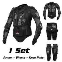 バイクオートバイライディング保護ギアモトクロスオフロードバックサポートフルボディプロテクタージャケット + ヒップパッドショーツ + 膝パッド