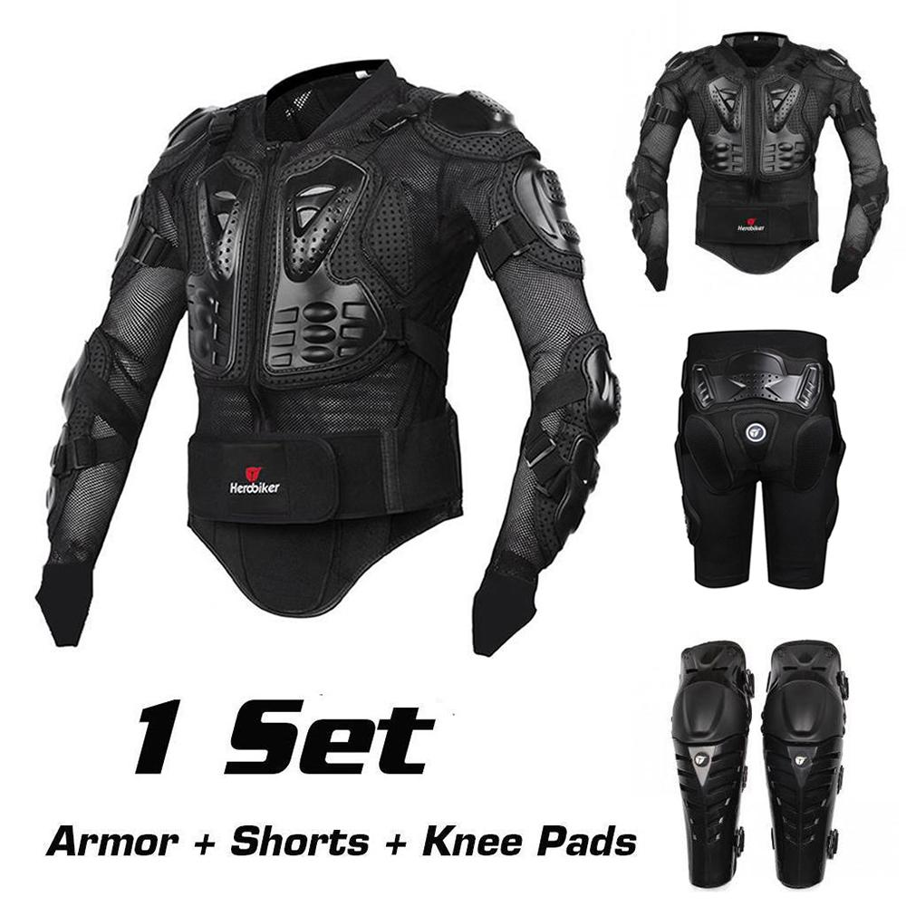 Motorcycle Riding Armor Protective Gear Motocross Off-Road Back Support Full Body Protector Jacket + Hip Pad Shorts + Knee Pads scoyco motorcycle riding knee protector bicycle cycling bike racing tactal skate protective gear extreme sports knee pads