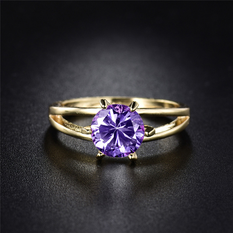 BUDONG Nice Women Gold Color Finger Rings with Purple ...