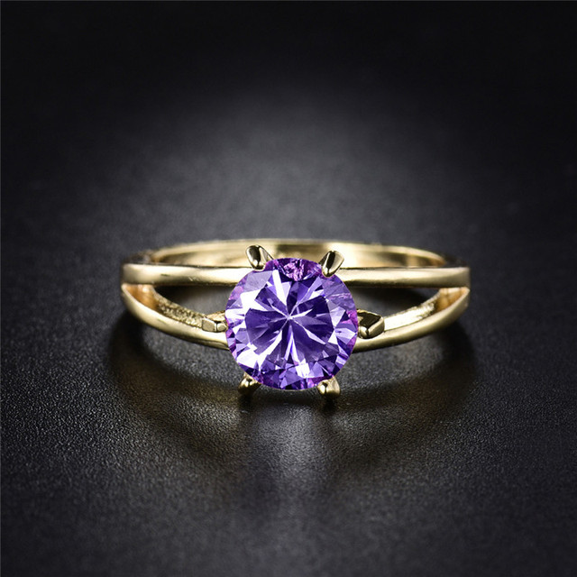 BUDONG Nice Women Gold Color Finger Rings with Purple Stone Cubic
