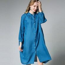 Autumn new loose Cotton and linen shirt Long sleeve Stand neck Plus size shirt Oversize Women
