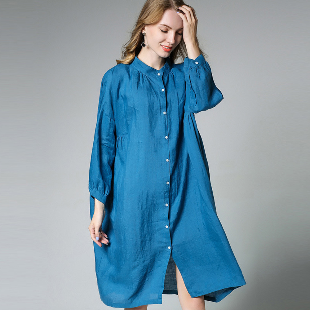 Autumn new loose Cotton and linen shirt Long sleeve Stand neck Plus size shirt Oversize font