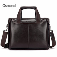 Osmond Genuine Leather Men Briefcase Casual Business Man Shoulder Crossbody Bags Large Capacity Travel Black Messenger Bags New