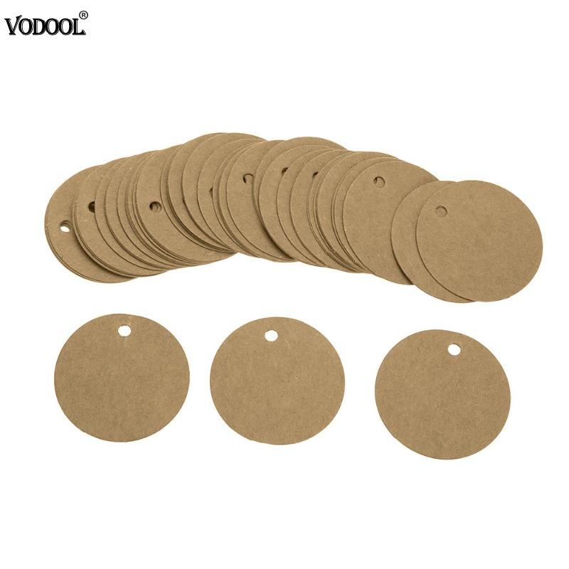 100pcs Round Kraft Paper Wedding Note String Label Card Lace Scallop Head Label Luggage DIY Christmas Tree Blank price Tag