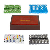 4 Colors Available Luxury PU Leather Wooden Box With High Quality Colorful Melamine Domino Games