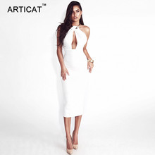 Hollow Out Bandage Off Shoulder Long Pencil Backless Split Dress